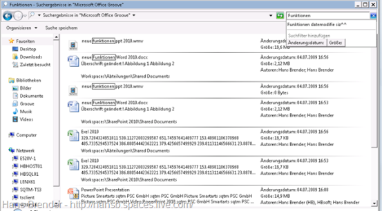 Suchergebniss SharePoint Workspace 2010