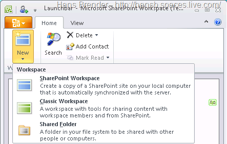 Arbeitsbereiche in SharePoint Workspace 2010