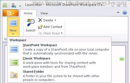 Arbeitsbereiche in SharePoint Workspace 2010