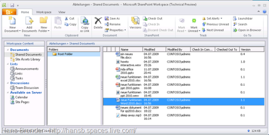 SharePoint Workspace 2010: Workspace