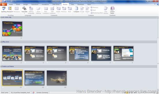 Sektionen in PowerPoint 2010