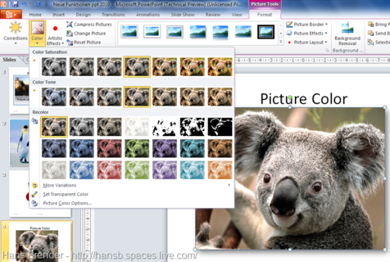 Picture Tools in Office 2010