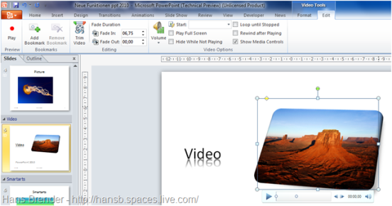 Editierfunktionen innerhalb der Video Tools in PowerPoint 2010