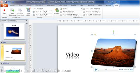 Editierfunktionen innerhalb der Video Tools in PowerPoint 2010