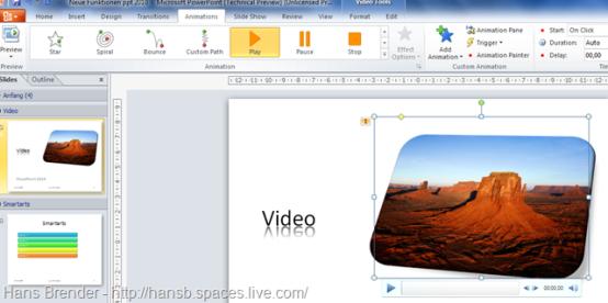 Benutzerdefinierte Animationen für integrierte Medien wie Video in PowerPoint 2010