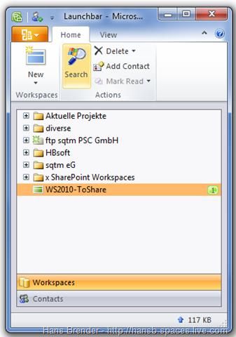 Launchbar mit Classic Workspace 2010