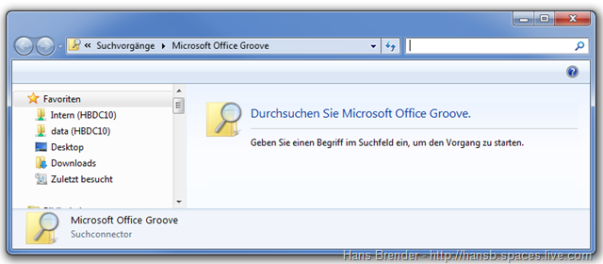 Suchfenster Search Federation SharePoint Workspace 2010