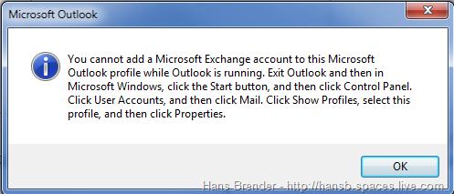Outlook 2010: Fehlermeldung
