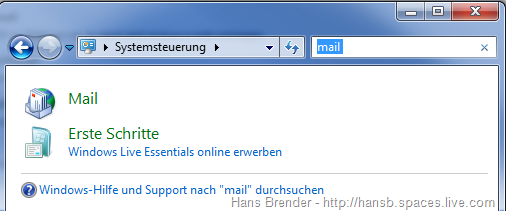 Systemsteuerung: Mail Profil