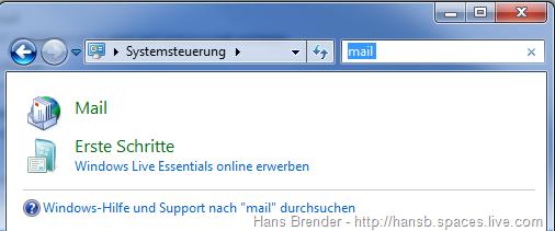 Systemsteuerung: Mail Profil
