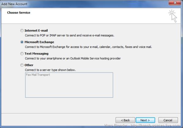 Outlook 2010: weiterer Exchange Account hinzufügen
