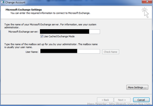 Outlook 2010: Exchange Server Settings