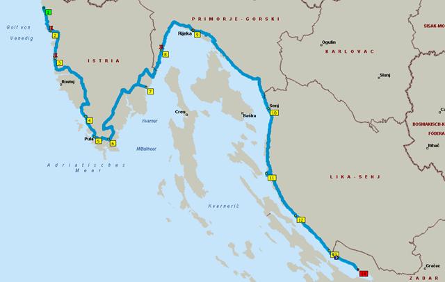 Route: Umag - Starigrad