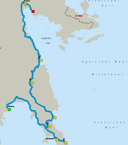 Route: Jithion - Nafplio