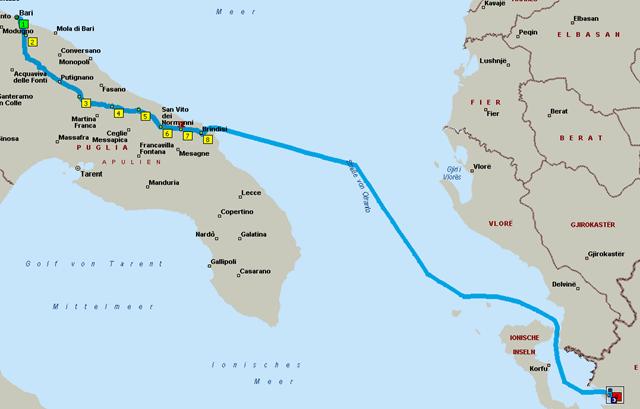 Route Bari - Alberobello - Brindisi - Igoumentsa