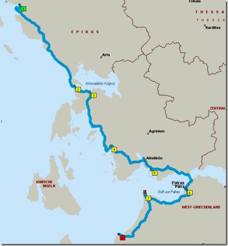 Route Igoumenitsa - Kilini