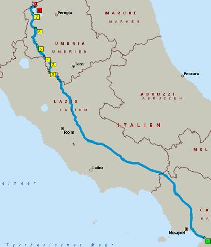 Route: Pompeji - Tuoro sul Trasimeno