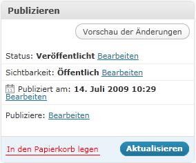 """Abbildung der """"Artikel-Bearbeitung"""" im IE 9 Beta: keine Aktualisierung möglich"""