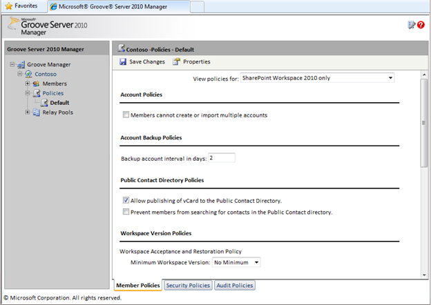 Verwaltungsoberfläche zum Groove Server 2010 Manager