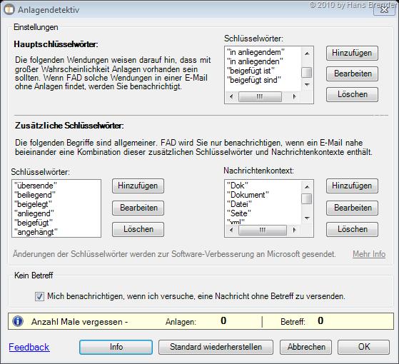 Anlagendetektiv - Konfiguration Schlüsselwörter