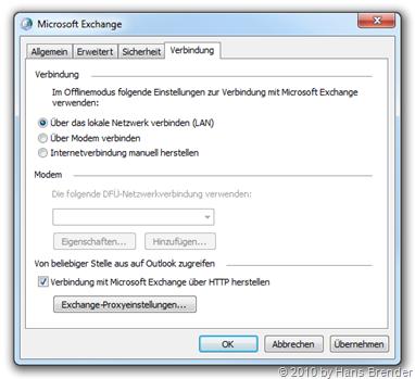 Konfiguration Exchange-Proxyeinstellungen