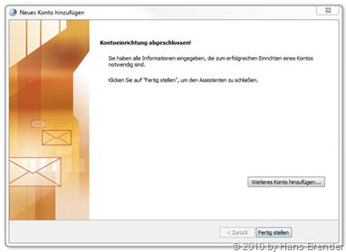 E-Mail Setup: Kontoeinrichtung abgeschlossen