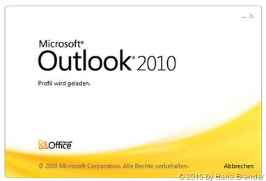 Outlook 2010 Startbildschirm