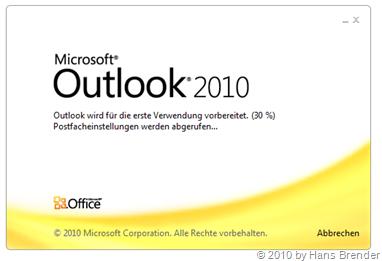 Outlook 2010: Erste Verwendung