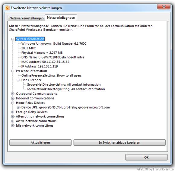 Kommunikations-Manager SharePoint Workspace erweiterte Netzwerkdiagnose