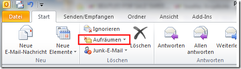 Aufräumen in Outlook 2010