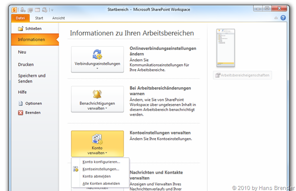 SharePoint Workspace 2010: Backstage