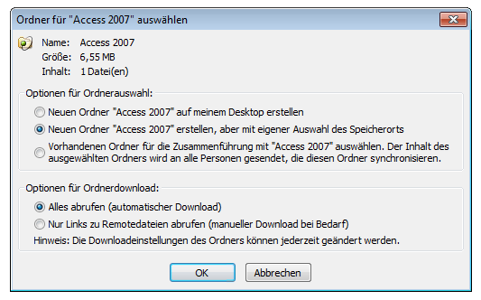 SharePoint Workspace 2010: Speicherdialog