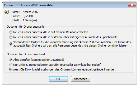 SharePoint Workspace 2010: Speicherdialog Option