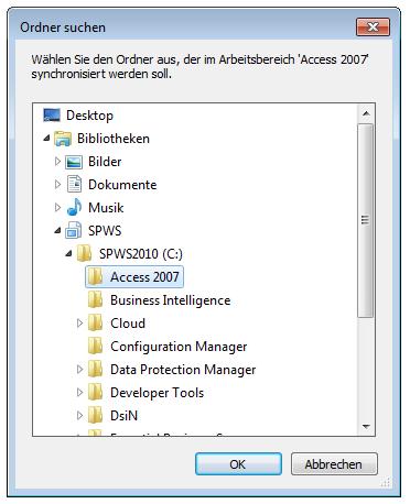SharePoint Workspace 2010: Speicherdialog Suche