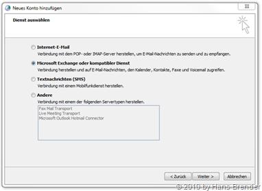 Dienst auswählen: Microsoft Exchange oder kompatibler Dienst
