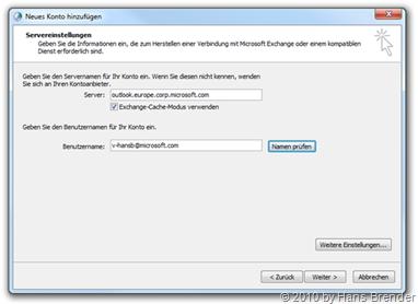 EMail Setup: Servereinstellungen
