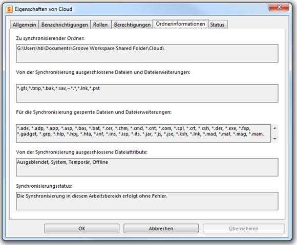 Eigenschaften Freigegebene Dateien