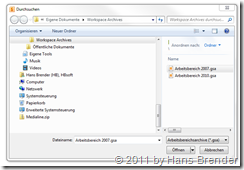 Wiederherstellen eines Archives zur Synchronisation in SharePoint Workspace  2010