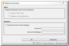 Passwortvergabe bei Archiv-Funktion in SharePoint Workspace 2010