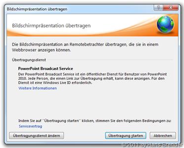 Startbildschirm für die Übertragung der PowerPoint 2010