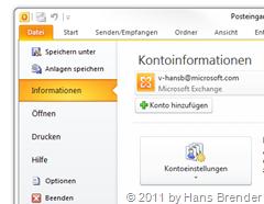 Outlook 2010: Backstage: Kontoinformationen