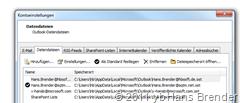Outlook 2010: Kontoeinstellungen: Datendateien