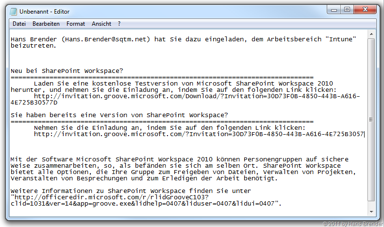 SharePoint Workspace 2010 | E-Mail Einladung | Hans Brender's Blog