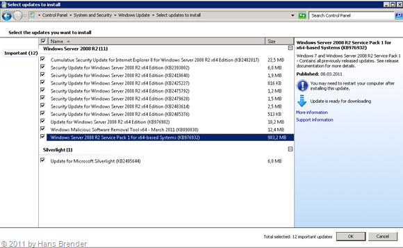 Updates (auch Windows SP1 für Windows Server 2008) via WSUS