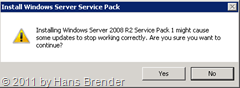 Restart-Rückfrage bei der Installation Windows Service Pack 1 auf Windows Server 2008 R2