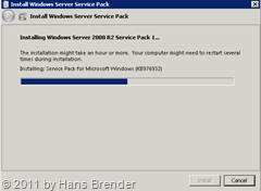 Fortschrittsanzeige Installation Windows Service Pack 1 auf Windows Server 2008 R2
