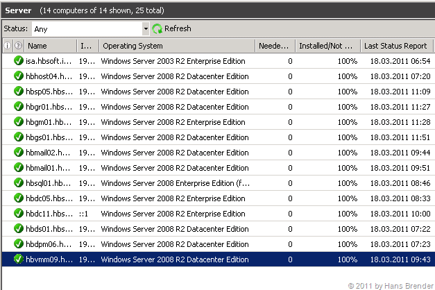 WSUS: alle Server erfolgreich auf auf SP1 umgestellt.