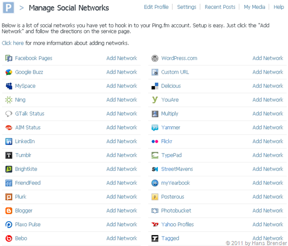 Managen Social Networks in ping.fm