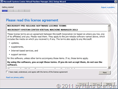 License agreement für SCVMM 2012 Beta