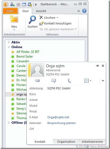 Lync-Integration in SharePoint Workspace 2010